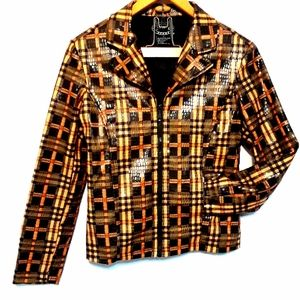 Selene Sport Jacket Plaid Geo Pattern Zip Up